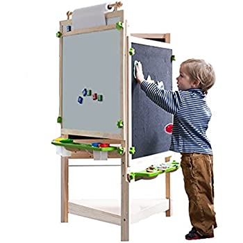 Amazon Com Kidkraft Deluxe Wood Easel Natural Toys Amp Games