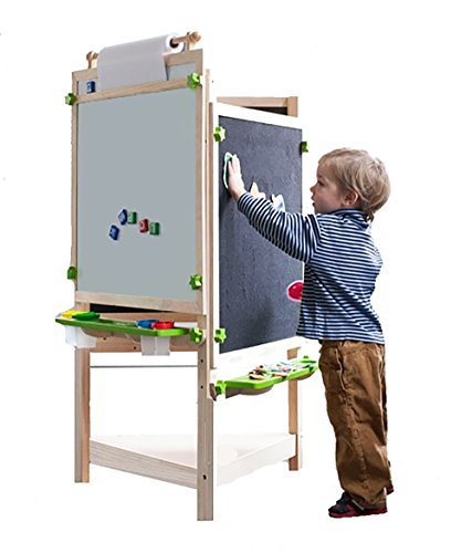 2 Station Art Easel (Little Partners Tri-Side Art Easel – Chalkboard, Felt & Dry Erase Board w/ Paper Feeder – 3-Sided Art Supplies & Activities Station for Toddlers to Paint, Learn & Have Fun)