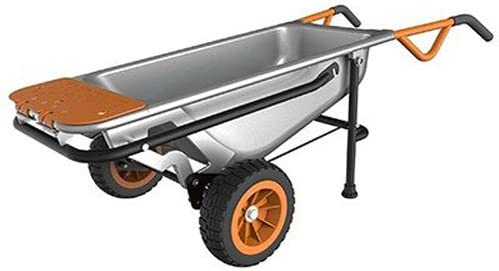 WORX WG050 Aerocart 8-in-1 All-Purpose Wheelbarrow Yard Cart Dolly, 18 x 12 x 42 , Orange, Black, and Silver