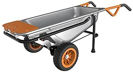 "WORX WG050 Aerocart 8-in-1 All-Purpose Wheel barrow/Yard Cart/Dolly, 18"" x 12"" x 42"", Orange, Black, and Silver"
