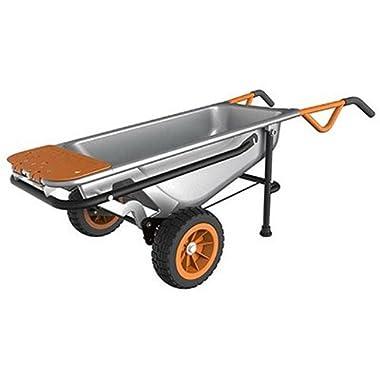 WORX WG050 Aerocart 8-in-1 All-Purpose Wheelbarrow/Yard Cart/Dolly, 18  x 12  x 42 , Orange, Black, and Silver