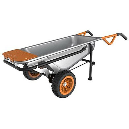 Worx Aerocart Multifunction 2-Wheeled Yard Cart, Dolly, and Wheelbarrow with Flat...