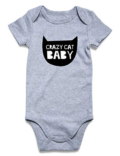 Cat Infant Bodysuit - Baby One-Piece Set Apparel Funny Graphic Crazy Cat Baby Bodysuit Unique Unisex Toddler Summer Outfits 6-12 Months