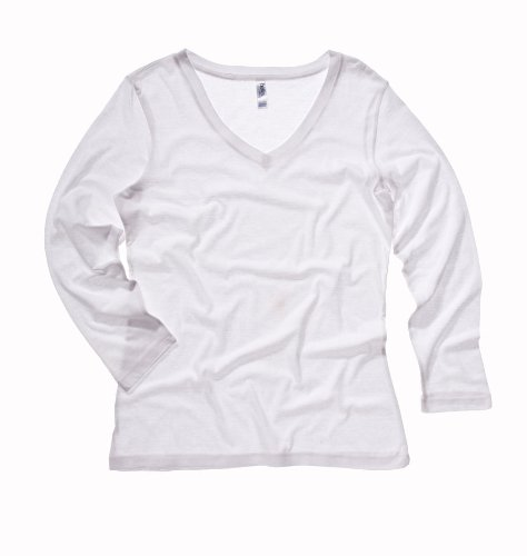 (Bella Canvas Missy Jersey 3/4-Sleeve V-Neck T-Shirt - WHITE - L)
