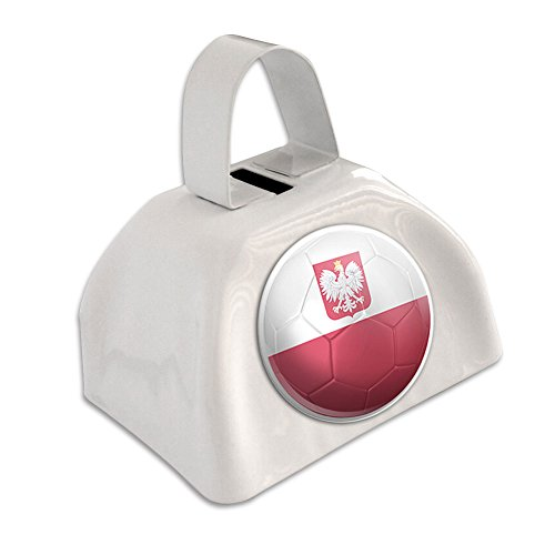 Poland with Coat of Arms Flag Soccer Ball Futbol Football White Cowbell Cow Bell (Poland Arms)