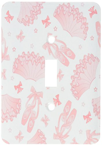 3dRose lsp_172119_1 Cute Ballet Pattern Pink and White Light Switch Cover
