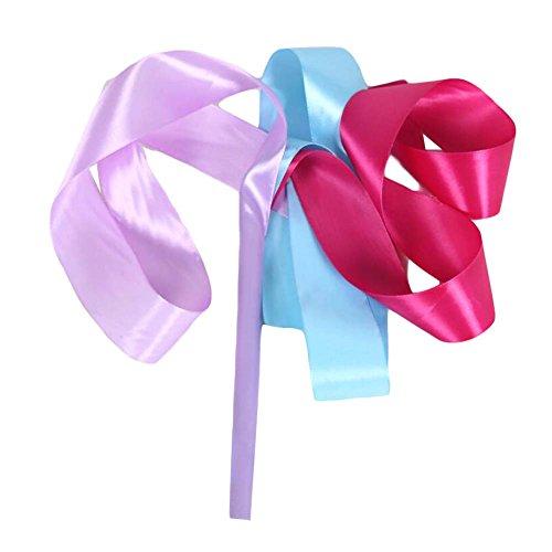 2本のダンスリボンダンス小道具子供の体操リボン/ブルー&ライラック&ローズ