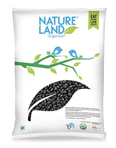 Natureland Organics Urad Whole/Sabut/Urad Kali Daal 500 Gm (Pack of 2) - Organic Pulses