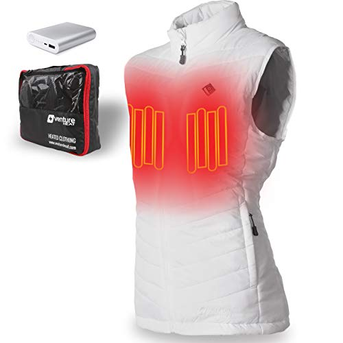 Venture Heat Women's Heated Vest with Battery 12 Hour - The Roam Puffer Heated Vest for Women (X-Large, White)