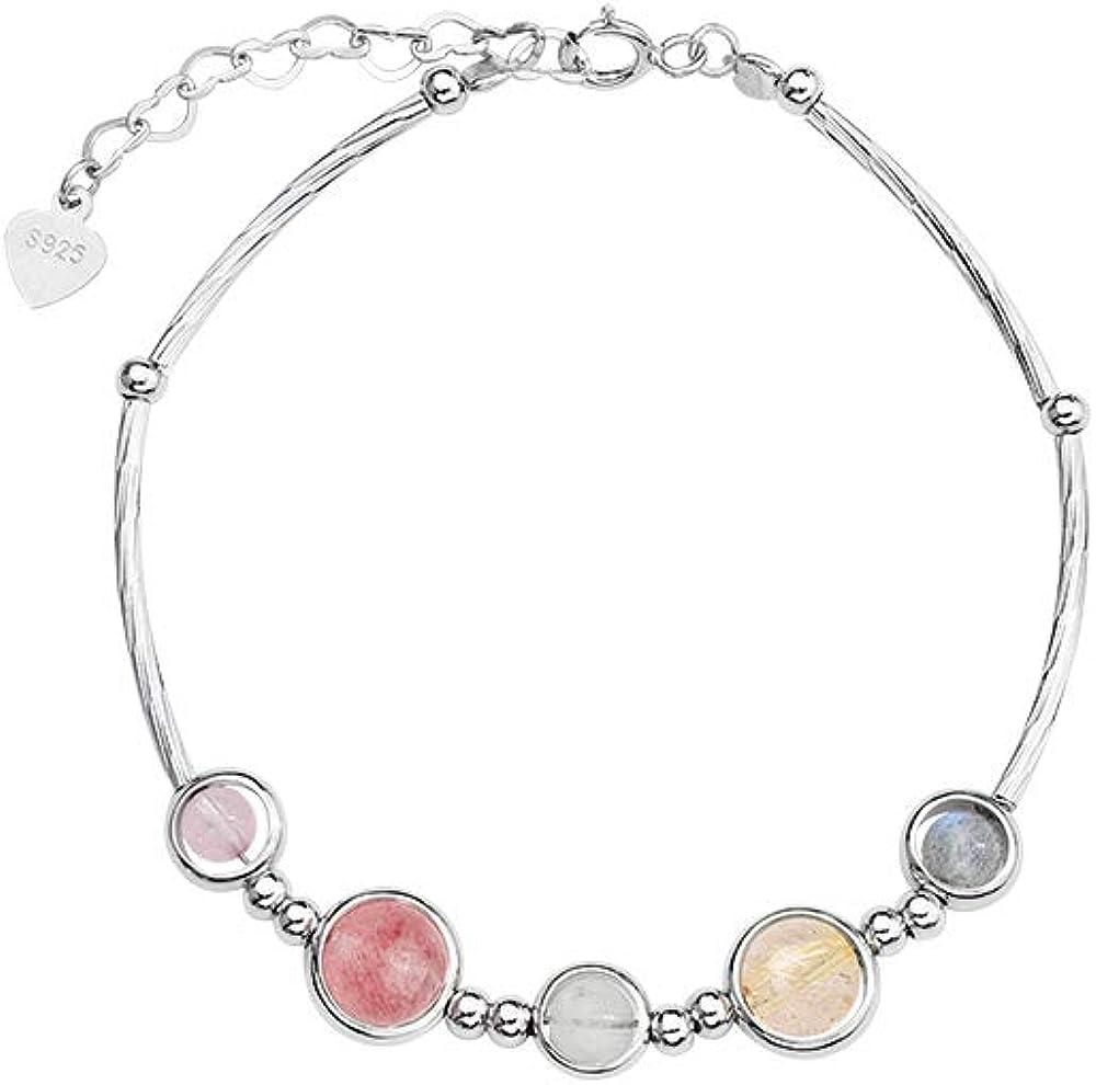 Desconocido 925 Pulsera Multicolor De Plata De Cristal De Fresa Pulsera De Piedra Lunar Regalo De Cumpleaños
