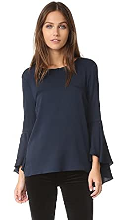 Milly Women's Bell Sleeve Top, Navy, 4