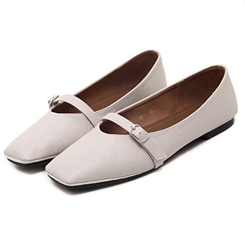 AdeeSu Urethane Apricot Square Uppers Toe Shoes Womens Low Buckle Cut Flats 1qx1vrB