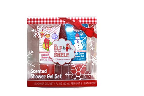 Elf on the Shelf Gift Set of 4 Shower Gels and 1 Bath Poof ()