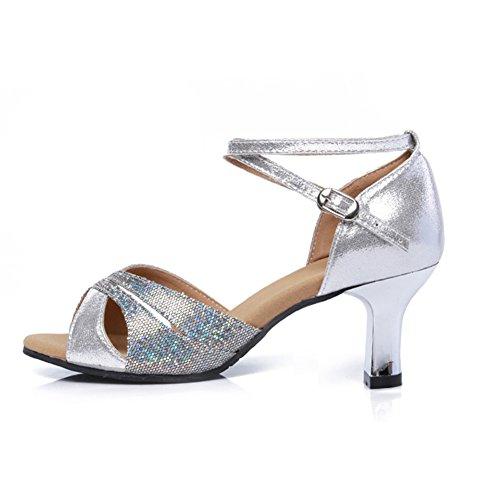 Social Zapatos Fondo Baile Tacones Zapatos De Mujeres Zapatos Mediados Latino Plata WYMNAME Baile De Blando De La Sandalia Baile 5xF7tw0