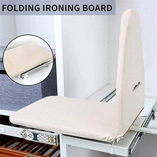 QWG Ironing Boards Wooden Lightweight Portable Tabletop Durable Folding Heat Resistant Space Saving Carbinet Drawer Mounted with Ironing Board Cover Pull Out
