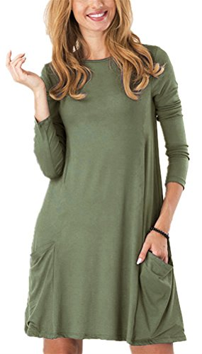 Women's Long Sleeve Pockets Casual Swing Plain T-shirt Dress, Green,Large.
