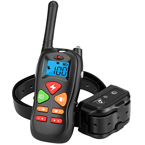 Dog Training Collar, Remote Pet Dog Shock Collar with Beep, 100 Level Shock/Vibration Collars - IP67 Waterproof & Rechargeable - Best Electric No Bark Collar for Small Medium Large Dogs Pets