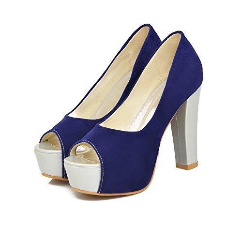 Amoonyfashion Donna Open Peep Toe Tacco Alto Platform Tacchi Alti Imitato Pelle Scamosciata Smerigliato Pompe Solide, Blu, 4,5 B (m) Us