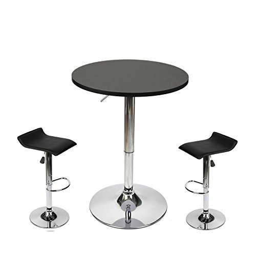 35 Inches Height Pub Table Round Black MDF Top, with 2 Contemporary Chrome Air Lift Barstool Adjustable Swivel Stools Set