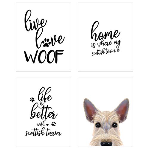 Summit Designs Scottish Terrier Wall Art Décor Prints - Set of 4 (8x10) Unframed Poster Photos - Dog Puppy Quotes