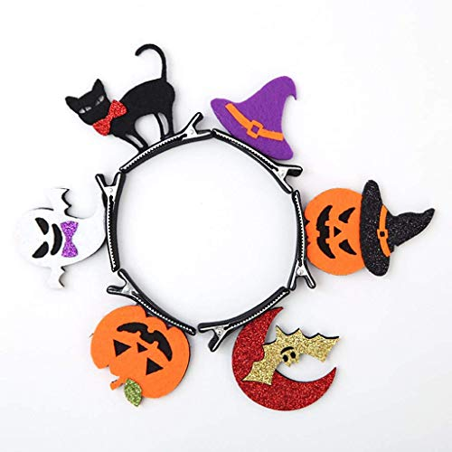 Halloween Hair Clips, 6Pcs Children's Hairpin Hair Accessories,Pumpkin Bat Ghost Black Cat Witch Hat Halloween Make Up Party Cosplay (Headwear for kids) -