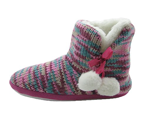 amp; with poms Pom Fashion Fleece Knit Blue Lining Women's Fuchsia Slippers Booties Multi wHx08qX0T