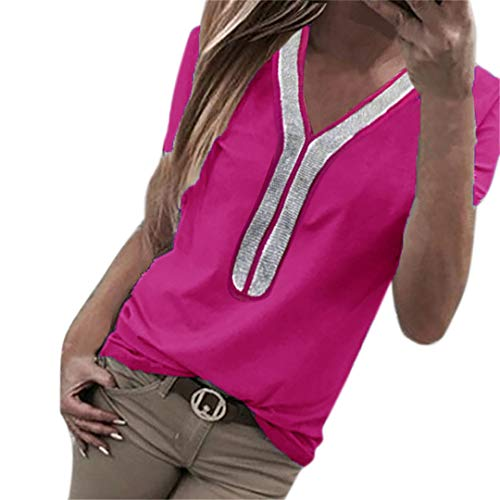XVSSAA Women's Casual V-Neck Short Sleeve T-Shirt, Ladies Beading Sequined Stitching Large Size Blouse Top Hot Pink