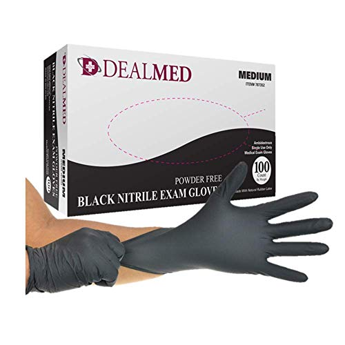 Dealmed Black Nitrile Exam Gloves, Latex Free, Disposable Gloves for Tattoo Artists, Hospitals, Law Enforcement, Hairstylists, First Response, Medium, 100 ct.