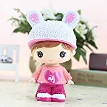 Interesting Child's Toy Gift Little Doll Creative Ornaments Toy Doll that Can Shake His Head Interesting Kids Toys Car Decoration Home Decoration Chinese Wind Lovely Crafts Resin Figures(Pink)