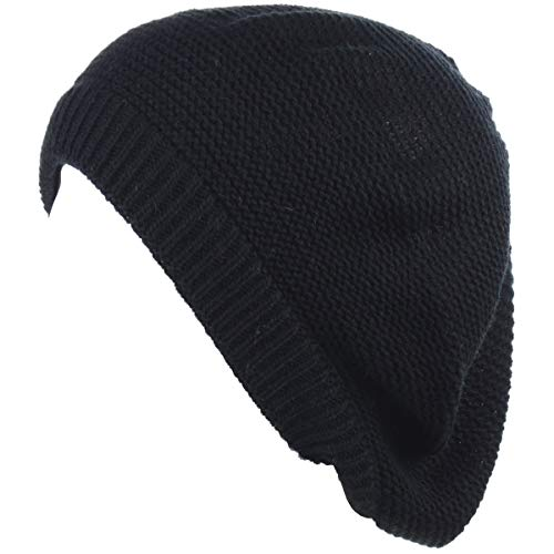 BYOS Chic French Style Lightweight Soft Slouchy Knit Beret Beanie Hat in Solid Black ()