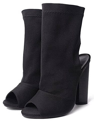 Sexy Fersenfrei High Toe Schwarz Damen Heels Blockabsatz Aisun Pumps Peep Sandale Tq560