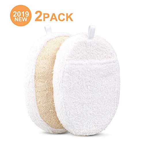 2019 Exfoliating Loofah Pads, 2 Packs Natural Luffa Material Loofah Sponge Shower Body Scruber for Men/Women Bath Spa and Shower