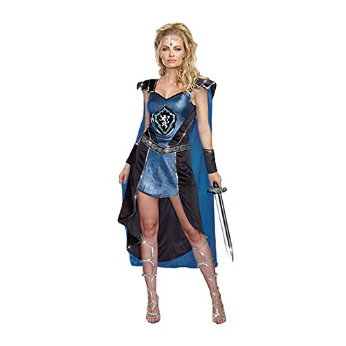 King Slayer Costume (Dreamgirl Women's Sexy Royal Warrior Costume, King Slayer Female, Blue, Small)
