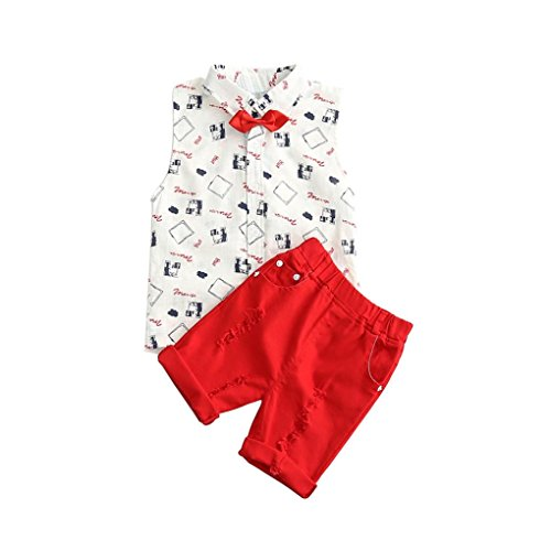 AMA(TM) Toddler Kids Baby Boys Summer Sleeveless Vest T-shirt Tops +Shorts Pants Outfits Clothes Set (5/6T, ()