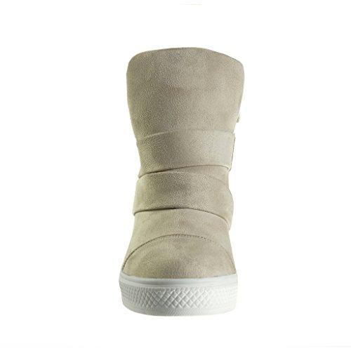 Angkorly - Zapatillas de Moda Deportivos Plataforma altas zapatillas de plataforma stile vendimia mujer tanga Talón Plataforma 8 CM - Beige