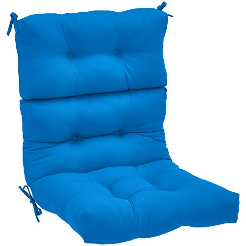(AmazonBasics High Back Chair Patio Cushion- Blue )