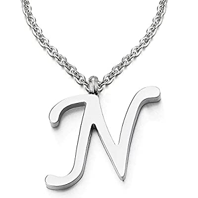 Womens Mens Steel Name Initial Alphabet Letter 26 A to Z Pendant Necklace with 20 inches Chain