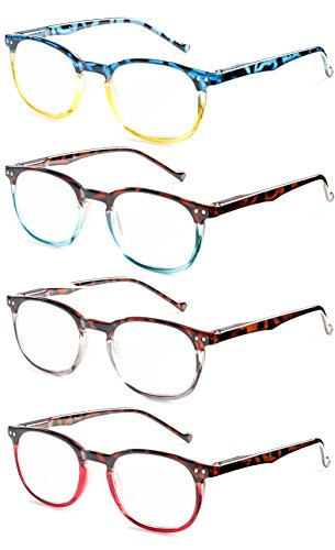 Colorful Round Womens Reading Glasses for Reading - Set of 4 - Yellow, Blue, Clear, Pink, - Value Pack - - For Reading Glasses Teens