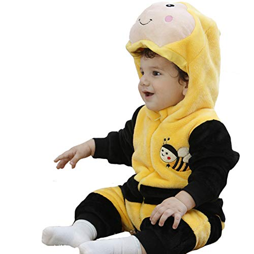 Tonwhar Unisex-Baby Animal Onesie Costume Cartoon Outfit Homewear (110:Ages 24-30 Months, Bee) -