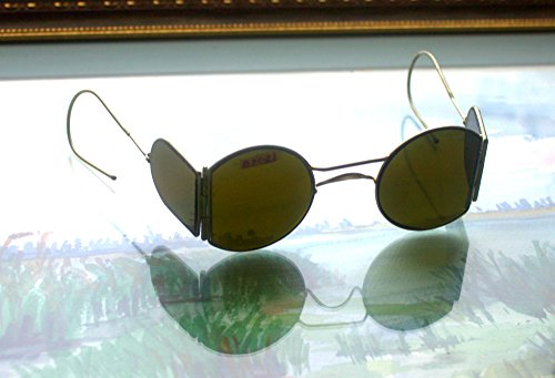 VALENTINES GIFT 1930s New Steampunk sunglasses with side shields New Vintage sunglasses WW2 USSR Green glass - Sunglasses 1930