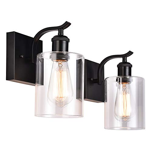 Cuaulans Industrial 2 Pack Glass Wall Lamps Sconce Light, Black Wall Sconce Clear Glass Shade Wall Lighting Fixture for Bathroom Bedroom Hallway ()