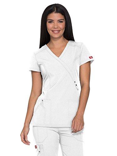Dickies Xtreme Stretch Women's Mock Wrap Solid Scrub Top Medium White
