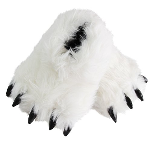 Caramella Bubble Fuzzy Plush Bear Paw Slippers | Warm Fleece Sheep Bootie | Funny Stuffed Animal Claw Slippers | Costume Toy Clog for Teens Adults (M, White Paw) Funny Bear