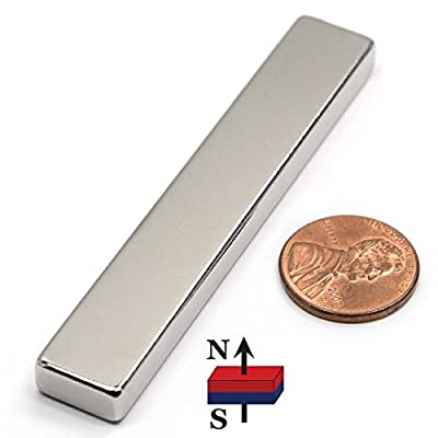 N52 CMS Magnetics Neodymium Magnet 3 x 1/2 x 1/4 inch Very Strong Magnet, One Piece