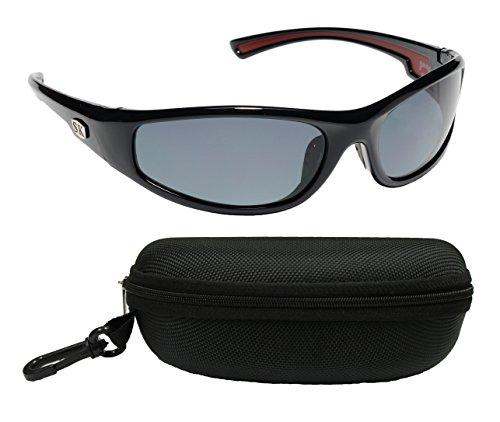 Strike King Plus SG-SKP02-CS Kulik Polarized Sunglasses Bundle, Shiny Black Frame with Gray Lens, with Black - Sunglasses Sg