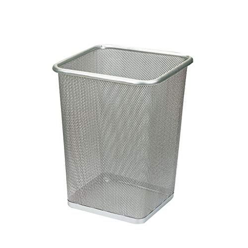 MAGO Mesh Square Wastebasket,Commercial Concept Collection Trash Can, 10.24 Diameter x 11.8 H, Silver Sophisticated & Stylish Trash can (Size : Tuba)