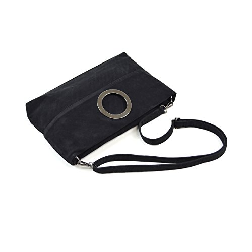Foldable Womens Faux Handbag Handle Bag Black Fashion Clutch Evening Suede Tote Top SSqRgTCx