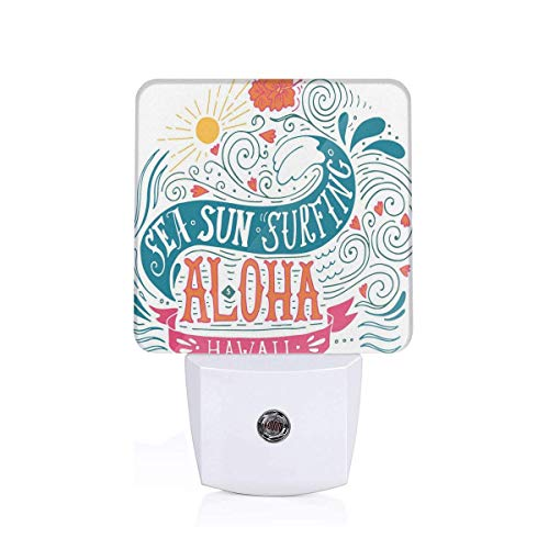 Colorful Plug in Night,Sea Sun Surfing Typography with Ocean Waves Aloha Tropical Print,Auto Sensor LED Dusk to Dawn Night Light Plug in Indoor for Childs Adults