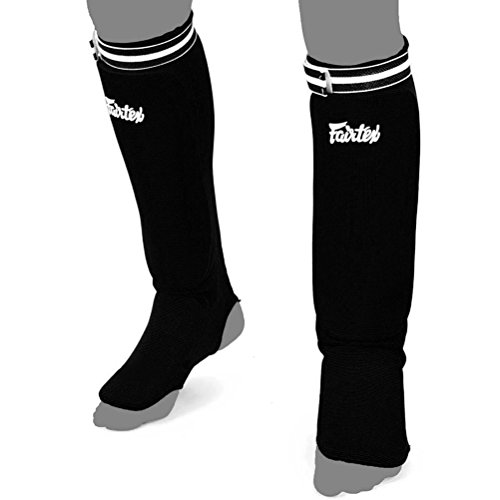 Shin Pads Fairtex SPE Elastic Competition Shin Guards for Muay Thai Kick Boxing and MMA Equipment, Guality Thai Boxing Shin Pads. Shins Fairtex is Price Shown is Per Pair