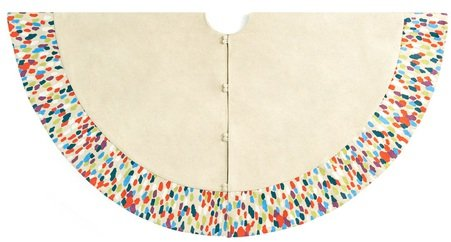 Arcadia Home TW6 Contemporary Design Colorful Confetti Pattern Tree Skirt, Beige
